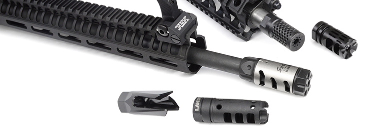 AR-15 muzzle with various muzzle devices